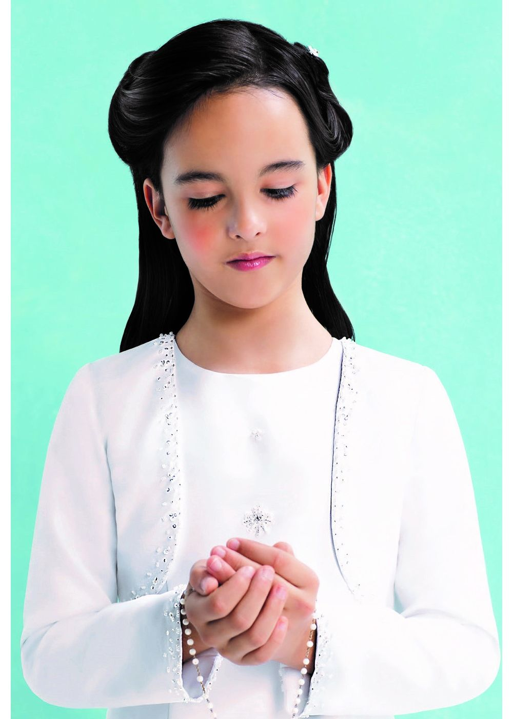 Emmerling Communion Bolero - OLIVIA - Girls White Satin & Organza Long Sleeve Jacket