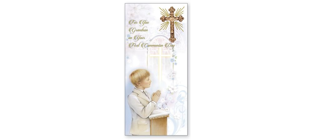 Boxed First Communion Card for Son - Son First Communion Card in Box - Catholic Religious 1st Communion Card for Son from grandparents