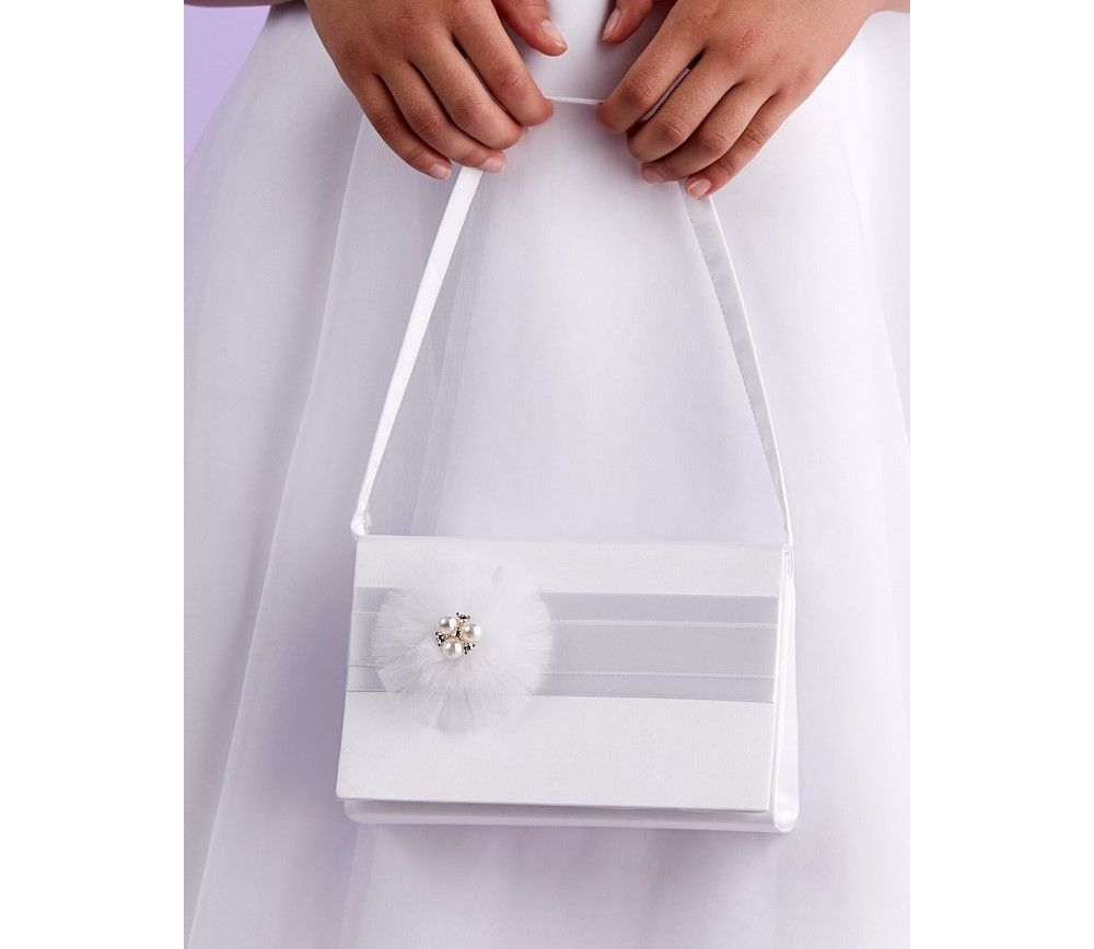White Communion Hard Bag with Organza Flower and Pearls