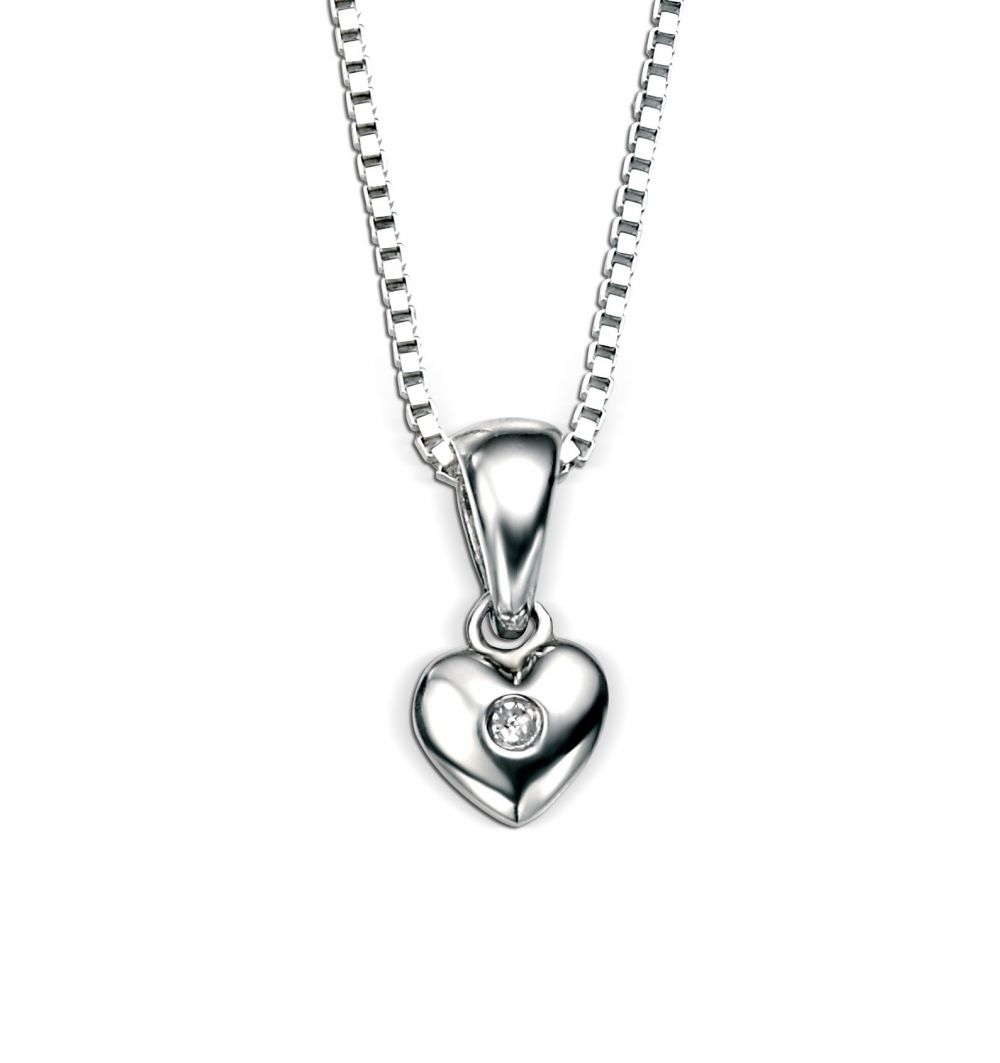 925 Silver Heart & Diamond Pendant