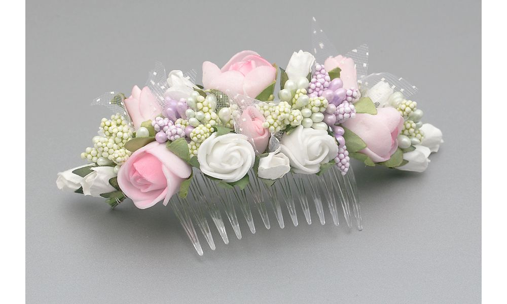 Summer Floral Rose Flower Comb