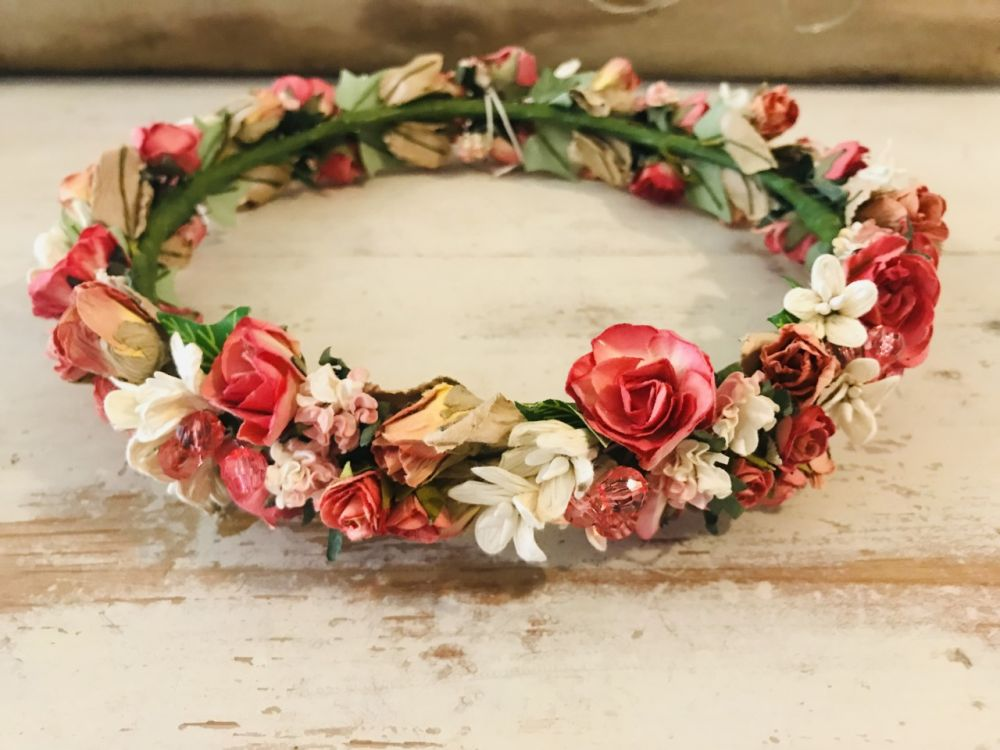Handmade Floral Crown with Deep Pinks, Creams & Amber Tones - Communion or Flower Girl