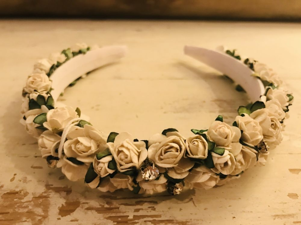 Handmade Floral Hairband with White Flowers & Diamante- Communion or Flower Girl