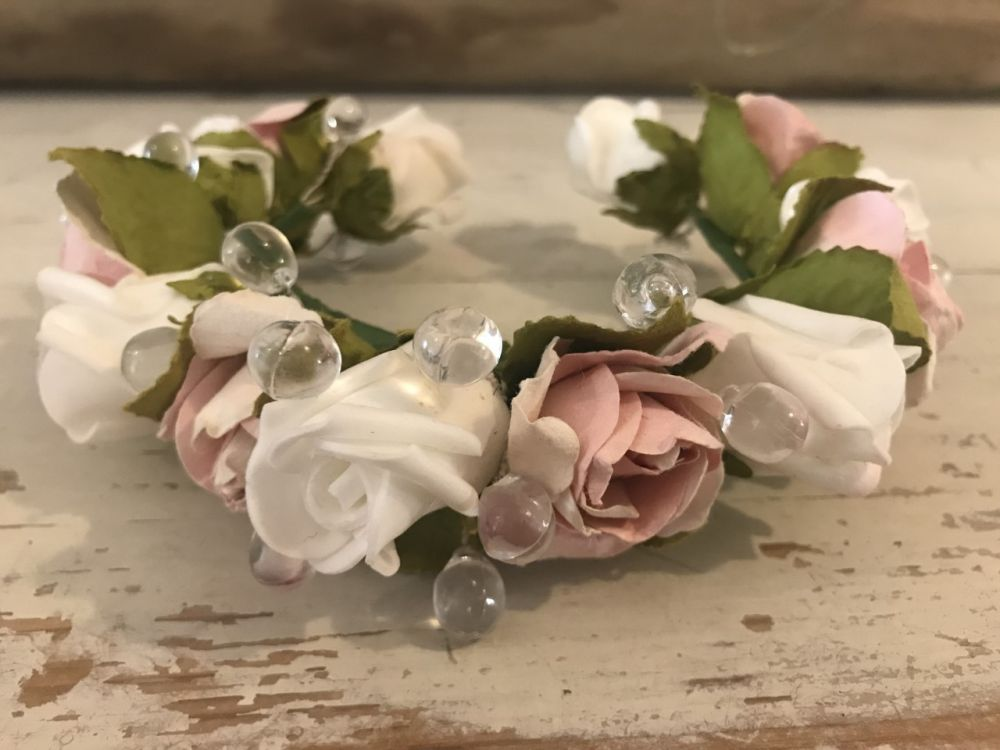 Handmade Floral Bun Ring with Light Pink & Cream Roses & Glass Beads