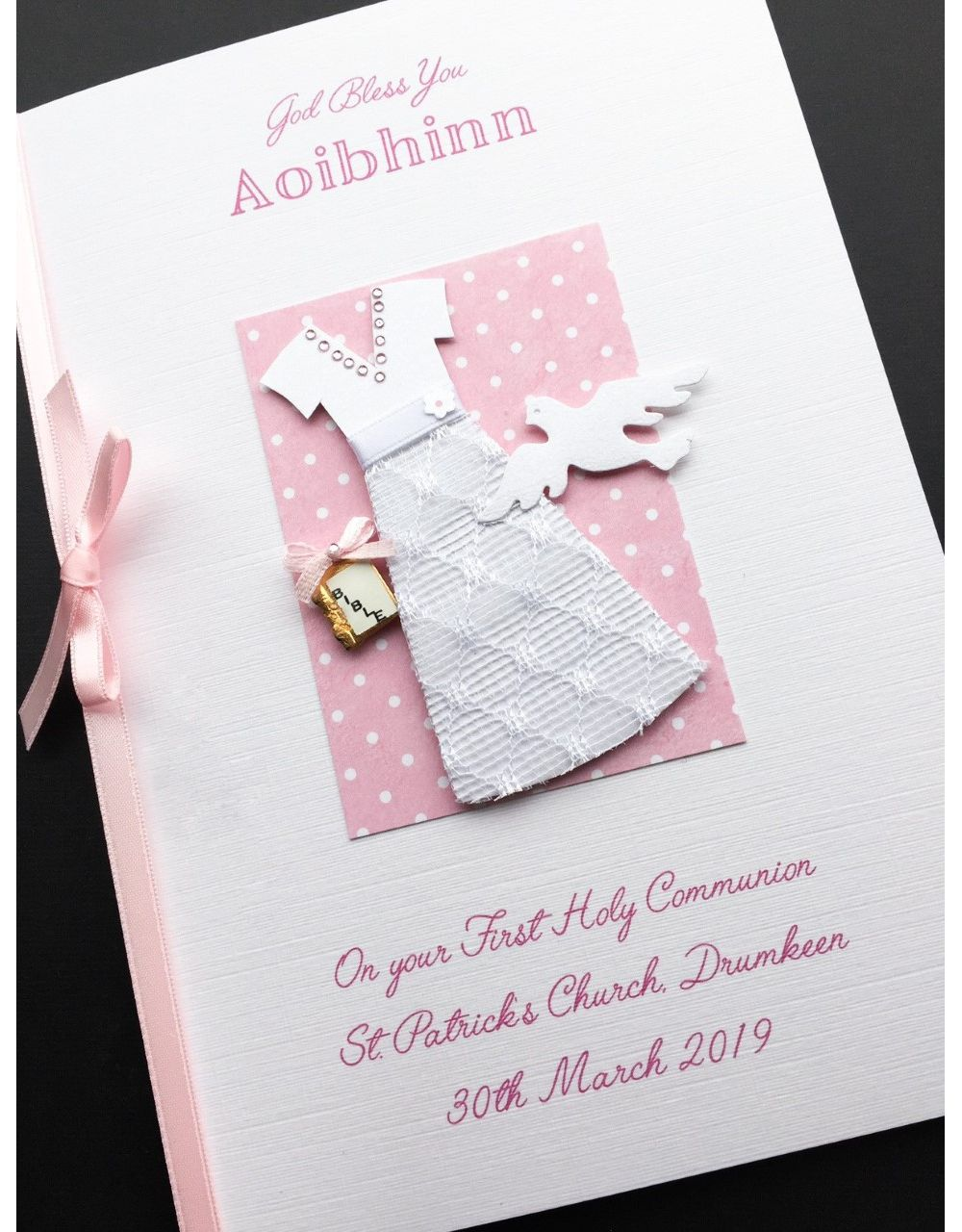 PERSONALISED Girls Holy Communion Card Daughter Granddaughter Sister Niece