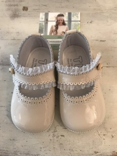 Spanish Handmade Beige Patent Leather Baby Shoes