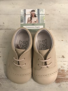 Spanish Handmade Beige Leather Baby Boy Shoes
