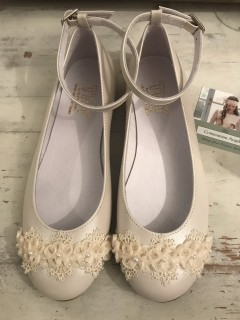 Cream Leather Communion Shoes
