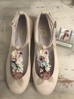 natural linen floral communion shoes