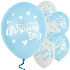 "blue christening day latex balloons - 11"" (pack of 6)"