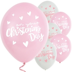 "pink christening day latex balloons - 11"" latex - pack of 6"