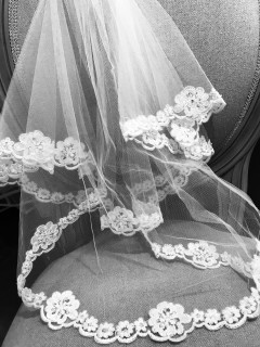 Communion Veil with Sparkling Floral Edging - Little People 2058