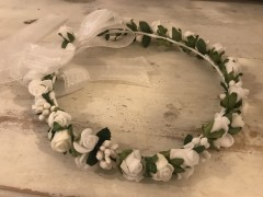 lacey bell - flower crown with organza ribbons