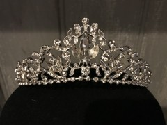 Girls Communion Tiara - Tall Silver Tiara with Sparkling Crystals by Little People 5317
