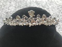 Girls Communion Tiara - Elegant Silver and Sparkling Crystals by Little People 5857