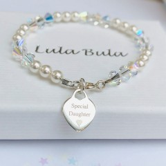 Holy Communion bracelet with Swarovski Crystal & Pearls & Heart Tag