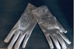 First Communion Gloves - White Satin with Lace and Illusion Detail - Little People 789