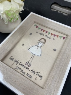 Handmade Personalised First Holy Communion, Christening, Confirmation Framed Picture