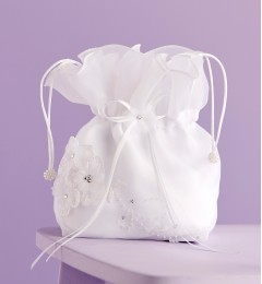 White Satin Communion Dolly Bag with Organza Flowers