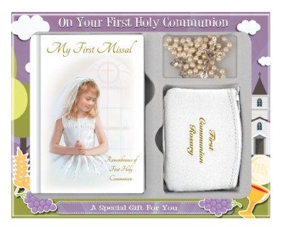 Girls Boxed First Communion Gift Set - First Communion Rosary, Purse & Missal - C5191