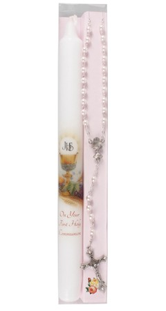 first holy communion candle & rosary