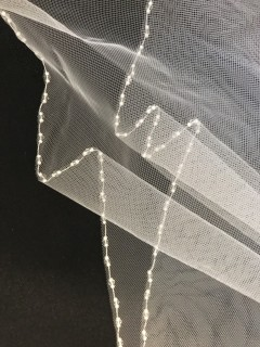 Communion Veil With Delicate Pearl Edging