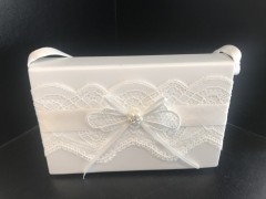 Ivory Communion Hard Bag with Lace & Bow Detail