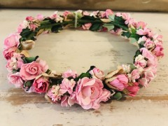 Handmade Floral Crown with Pink Flowers - Communion or Flower Girl