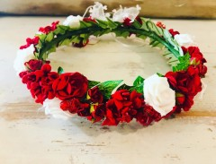 .Handmade Red & White Floral Crown - Communion or Flower Girl