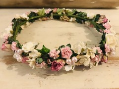 Handmade Floral Crown with Pinks & Creams - Communion or Flower Girl