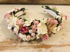 Handmade Floral Hairband with Pink & Cream Flowers - Communion or Flower Girl