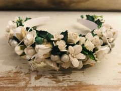 Handmade Floral Hairband with White Flowers & Pearls - Communion or Flower Girl