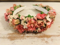 Handmade Floral Hairband with Pink & Cream Floral Tones - Communion or Flower Girl