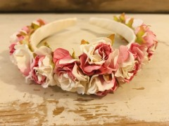 Handmade Floral Hairband with Pink & White Roses - Communion or Flower Girl
