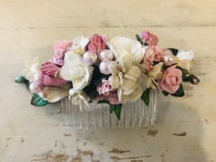 Handmade Floral Comb with Light Pink & Cream Flowers & Pink Pearls - Communion or Flower Girl