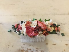 Handmade Floral Comb with Pink & Cream Flowers & Glass Beads