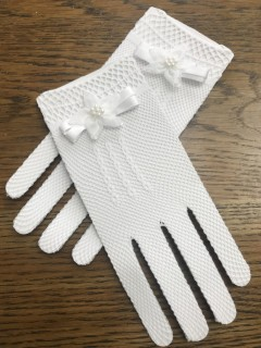 White Aire Barcelona Spanish Communion Gloves with bow