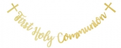 gold holy communion bunting