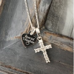 Sterling Silver Heart Tag & Cubic Zirconia Cross Necklace