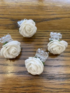 Set of 4 Small White Rose Clips