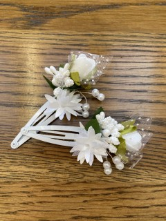 Pair of Small White Floral Hair Slides