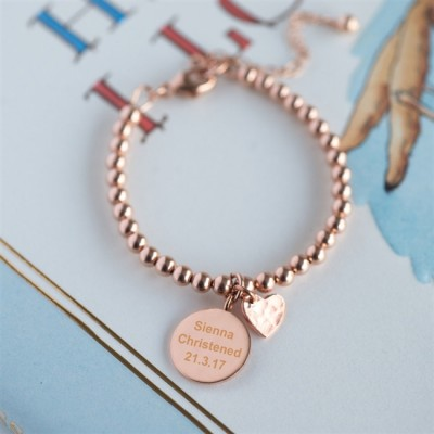 Rose Gold Christening Lobster Clasp Bracelet