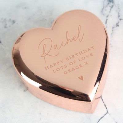 Personalised Rose Gold Heart Rosary/Trinket Box