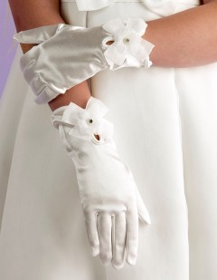 Girls Ivory Satin Holy Communion Gloves with Flower & Bow