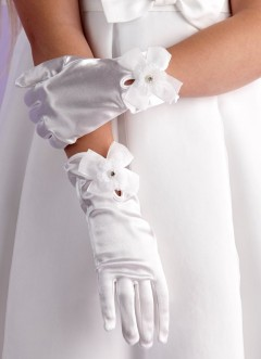 Girls White Satin Holy Communion Gloves with Flower & Bow