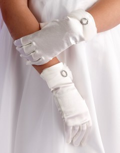 Girls Ivory Satin Holy Communion Gloves with Organza & Diamante