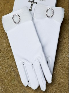 Girls White Satin Holy Communion Gloves with Organza & Diamante