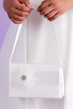 Ivory Communion Hard Bag with Organza Flower and Pearls