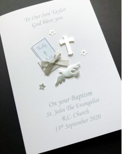 Silver Christening Card for Boy - Bible & Dove