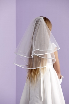 classic two-tiered communion veil with satin edge